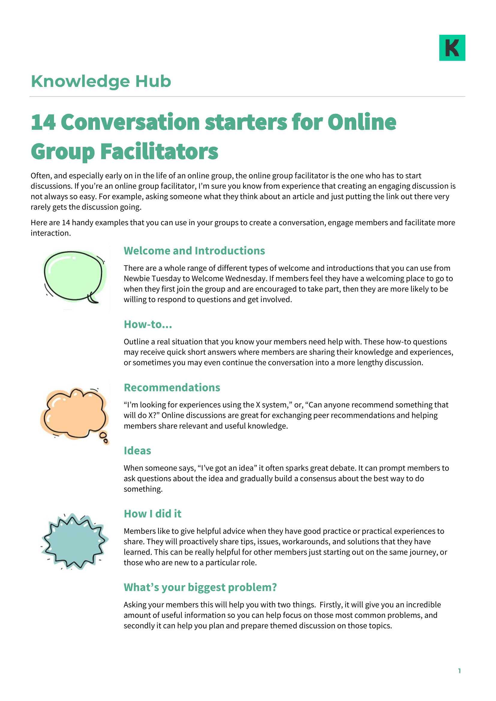 14 Conversation starters for Online Group Facilitators (part 1)