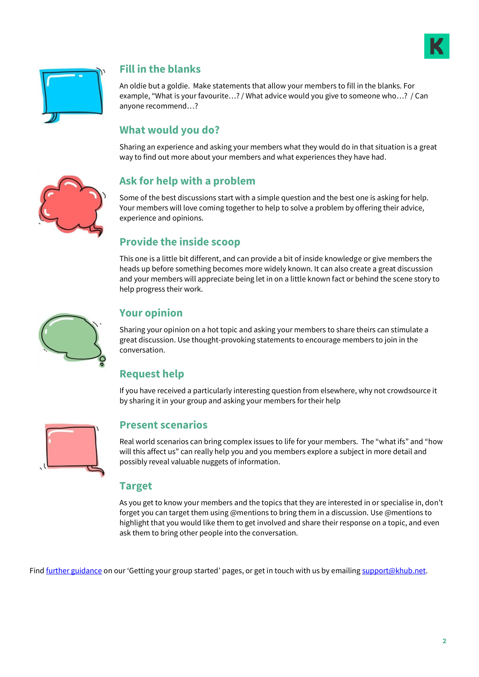 14 Conversation starters for Online Group Facilitators (part 2)