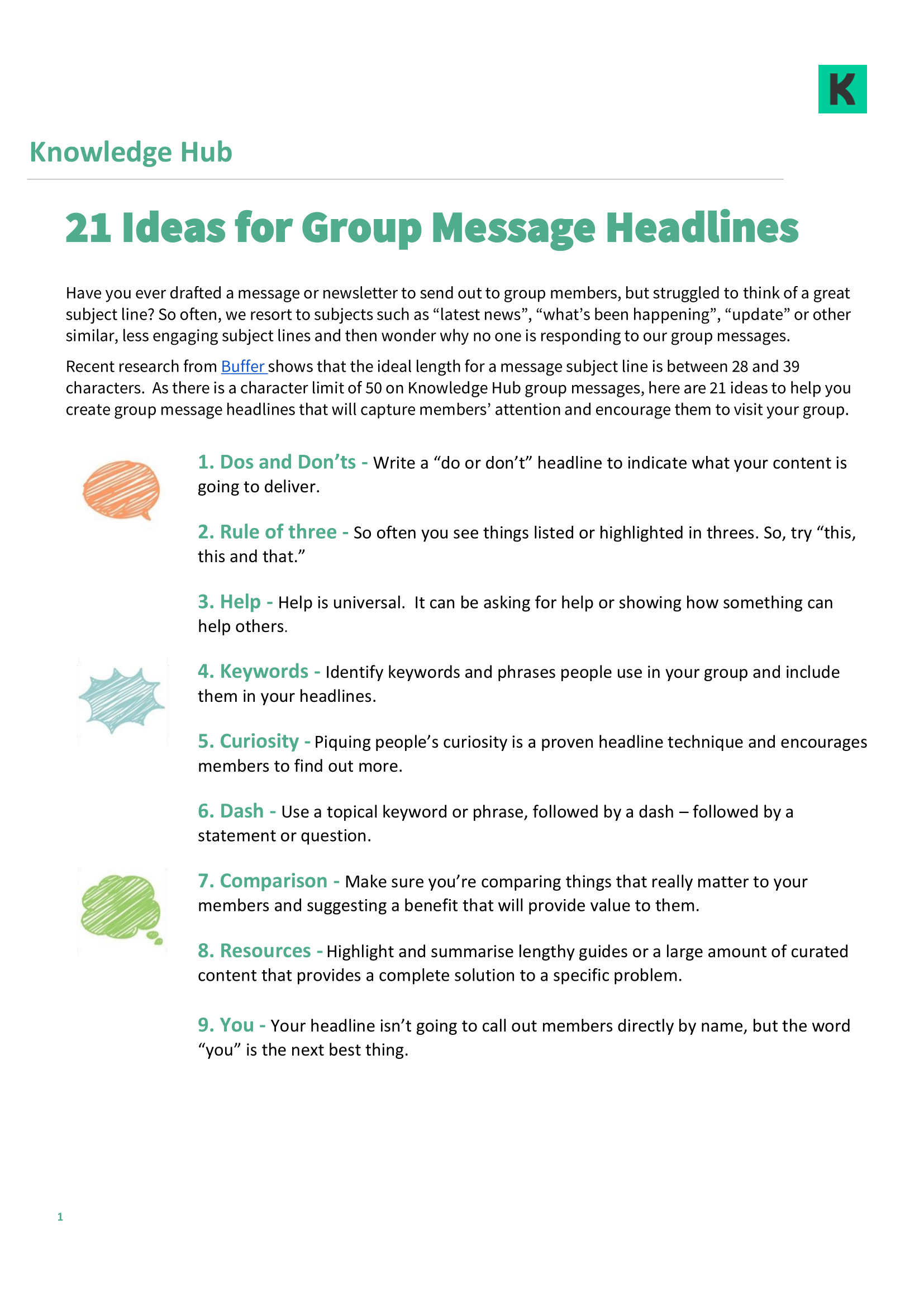 21 Ideas for Group Message Headlines (part 1)