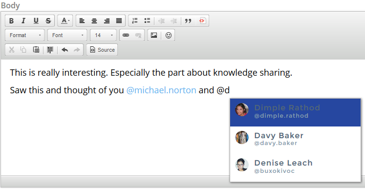Adding an @mention image